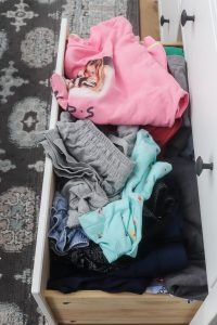 messy clothes in drawer