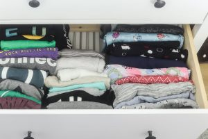 konmari folding method folded clothes in Ikea Hemnes drawer