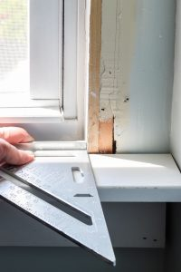 speed square to measure window sill