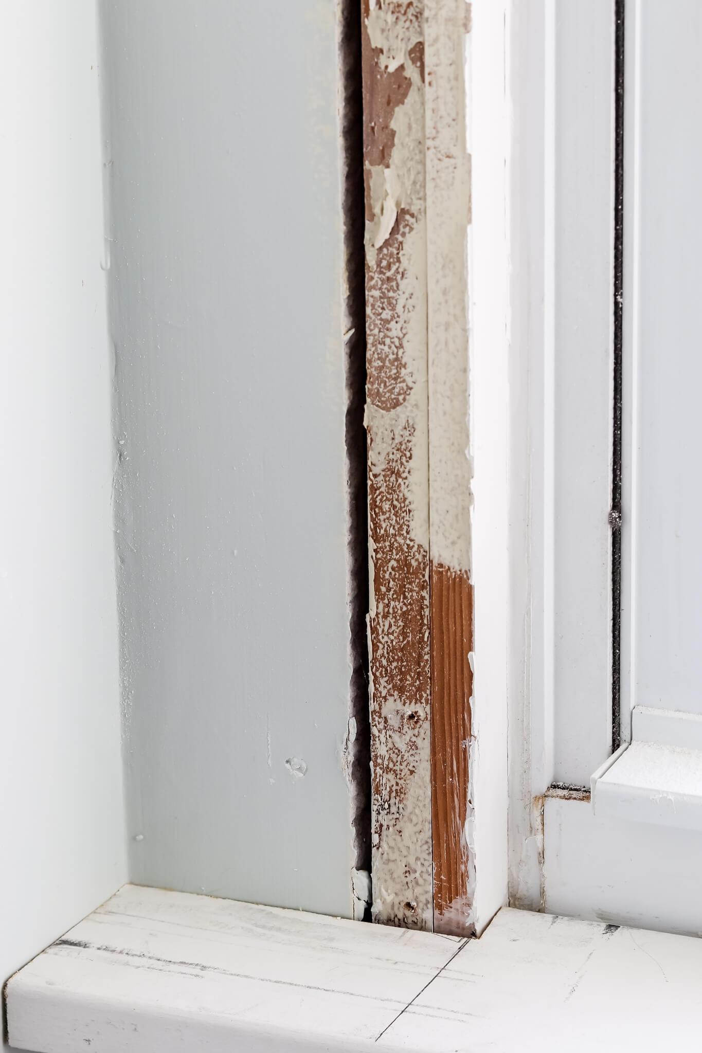 corner of wood craftsman style window trim