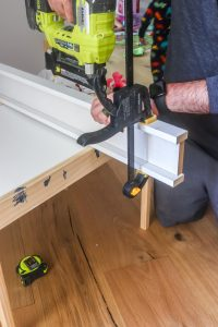 nailing together the header for craftsman style window trim