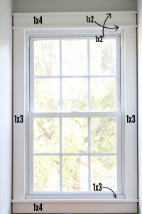 craftsman trim with markings on windows to show what wood to use