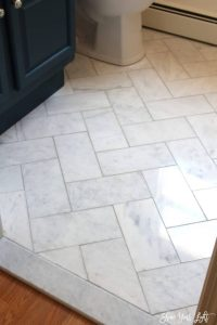 herringbone marble tile floor