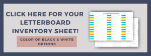 letterboard letters inventory sheet