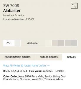 Sherwin Williams Alabaster details