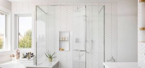 all white chevron tile bathroom design