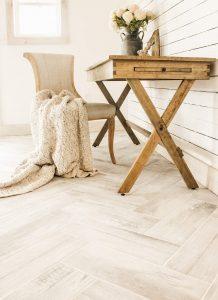 herringbone wood look tile floor