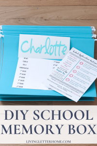 DIY school memory box with kid's school papers via Living Letter Home