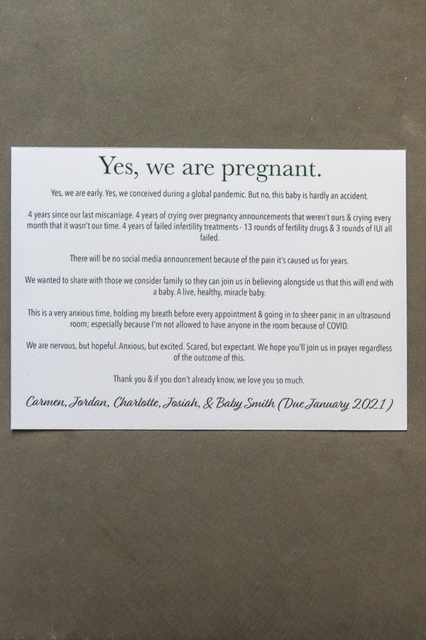 snail mail pregnancy announcement