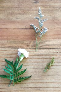 flowers on a wood table background
