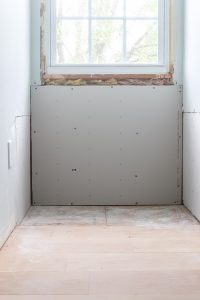 replacing drywall in dormer for DIY built in desk