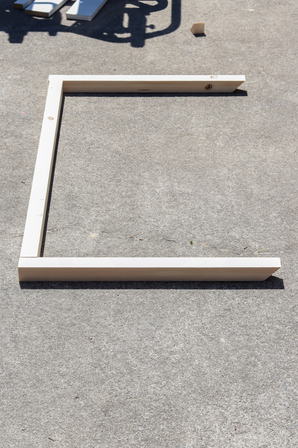 2x2 bracket resting on the ground