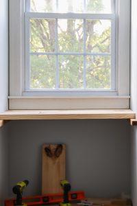 DIY built in wood desk