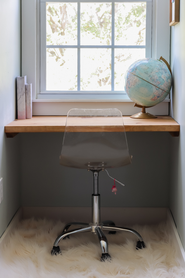 DIY built in desk in a dormer