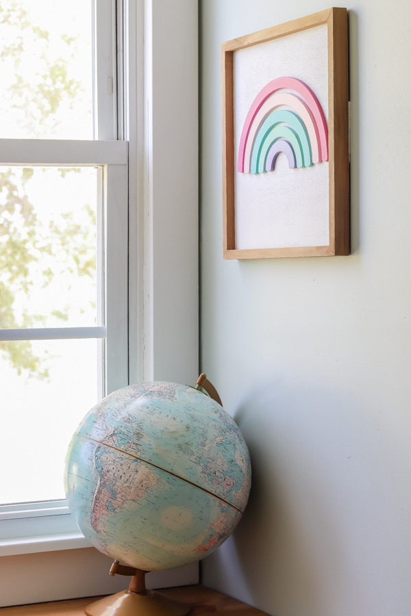 globe and rainbow wood art