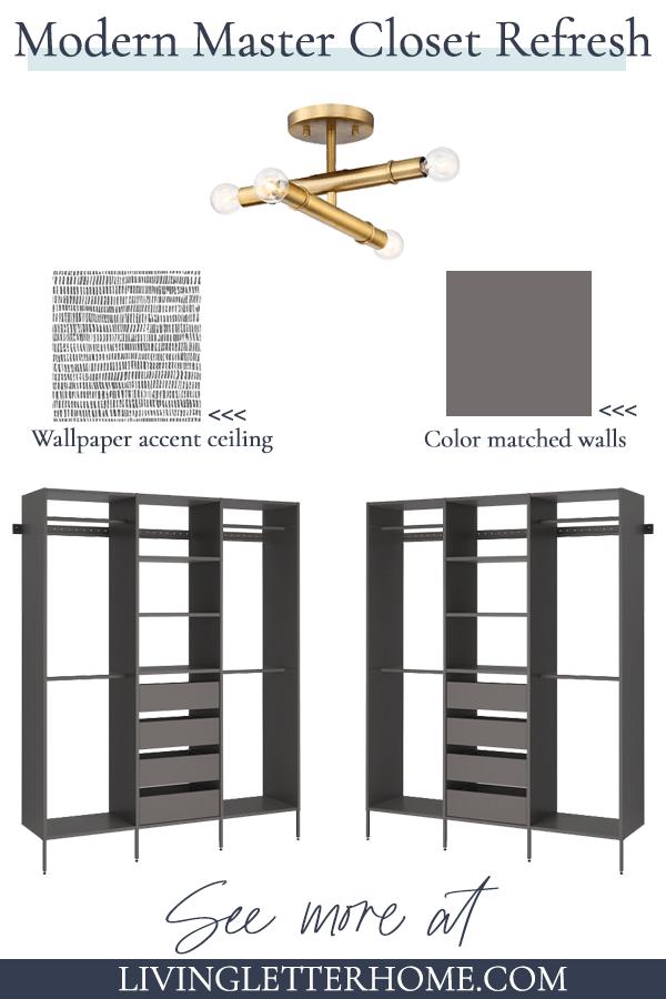 modern master closet refresh plans