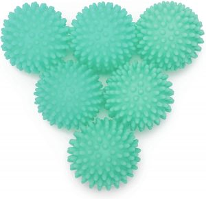 teal blue plastic dryer balls