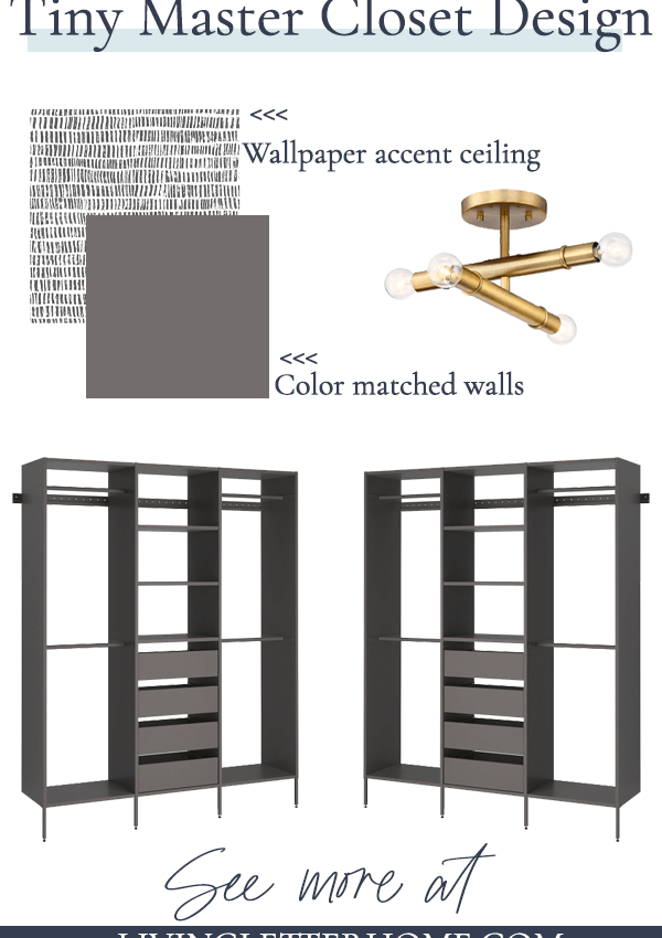 mood board for tiny master closet makeover