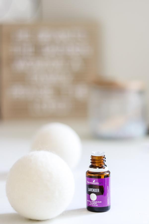 lavender essential oils on dryer balls