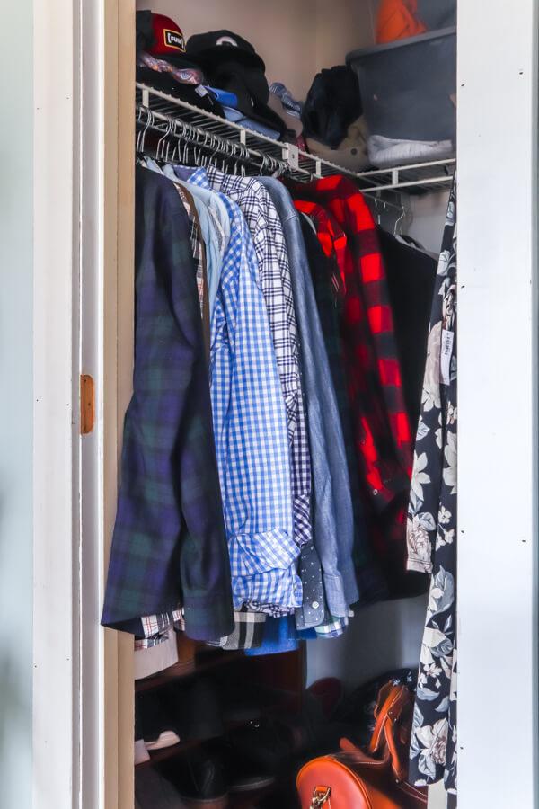 messy master closet before
