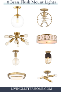 8 Aged Brass Modern Ceiling Flush Mount Lights