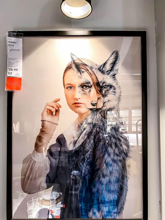 Ikea painting with half woman half wolf