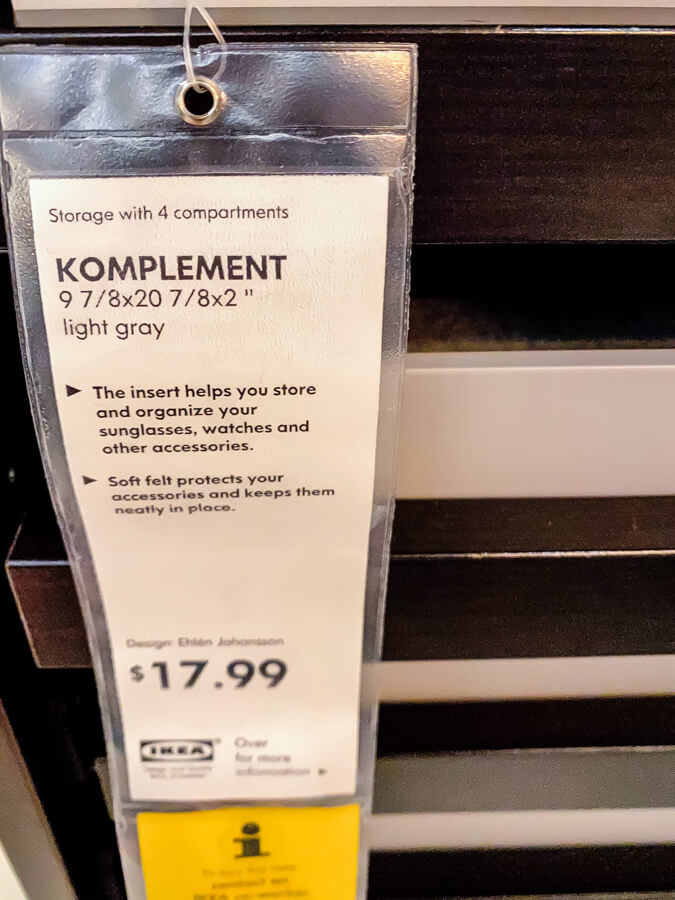 Ikea Komplement tag