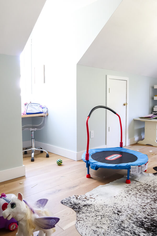 playroom with trampoline