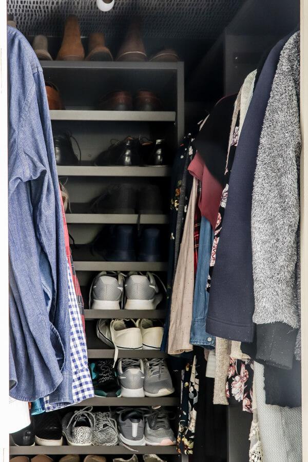 Ikea AURDAL closet shelving unit in gray