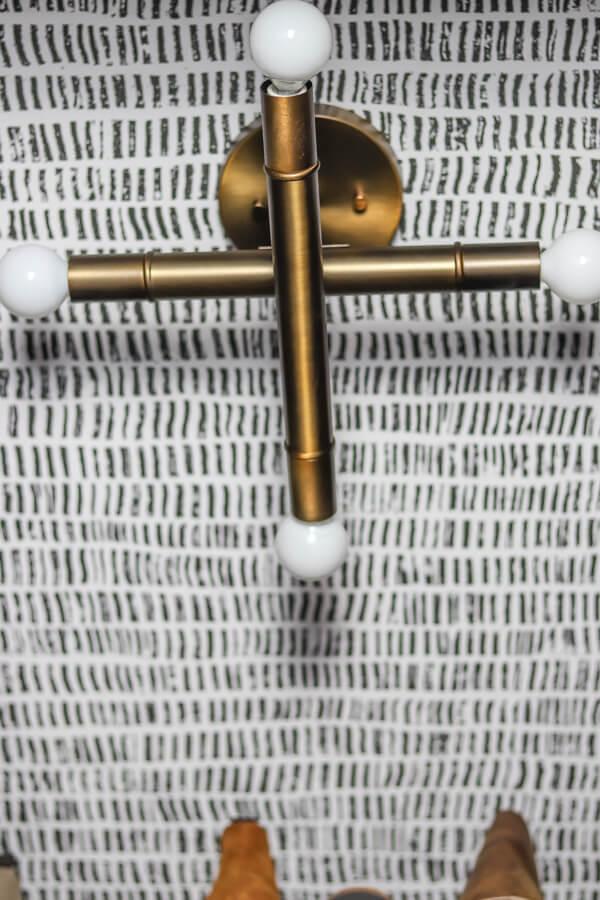 brass ceiling flushmount light on wallpaper ceilings