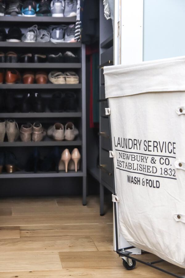 laundry basket outside of closet