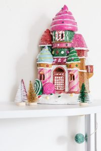 pink ceramic gingerbread house