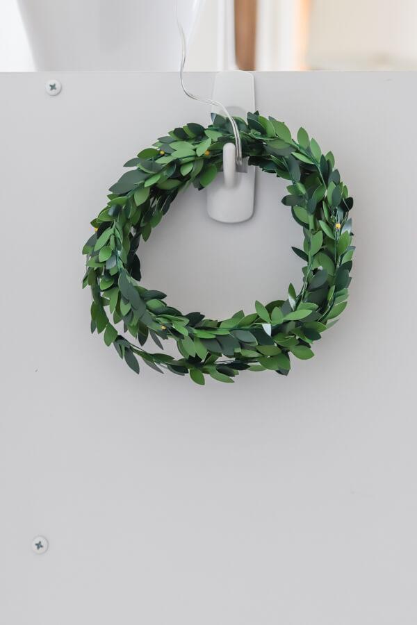 mini wreath hanging on command hook