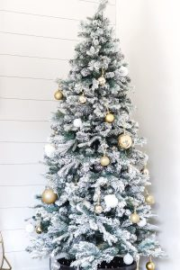 bare flocked christmas tree