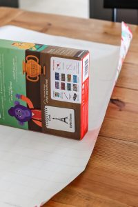 closeup of box on grid wrapping paper