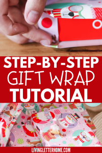 Follow this EASY step by step tutorial on how to wrap a gift the easy way! | LivingLetterHome.com