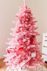 Pink Christmas tree with red sequin ribbon