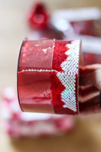 reversible sequin ribbon red and pink