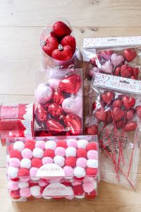red heart picks, red sequin ribbon, red, white and pink pom garland, red and pink heart ornaments