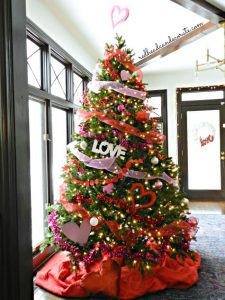 green tree decorated for valentine's day