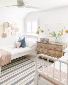 2 twin white Jenny Lind beds