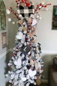 Christmas tree decorated with black and white buffalo check and burlap Valentine's Day decor