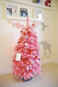 mini pink christmas tree decorated for Valentine's Day