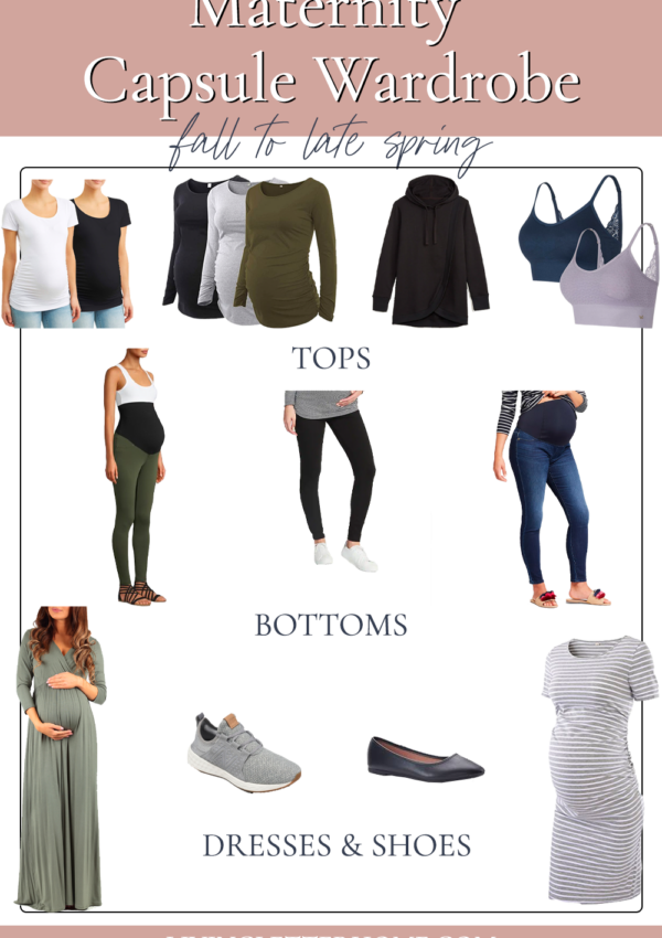 Budget friendly maternity capsule wardrobe graphic