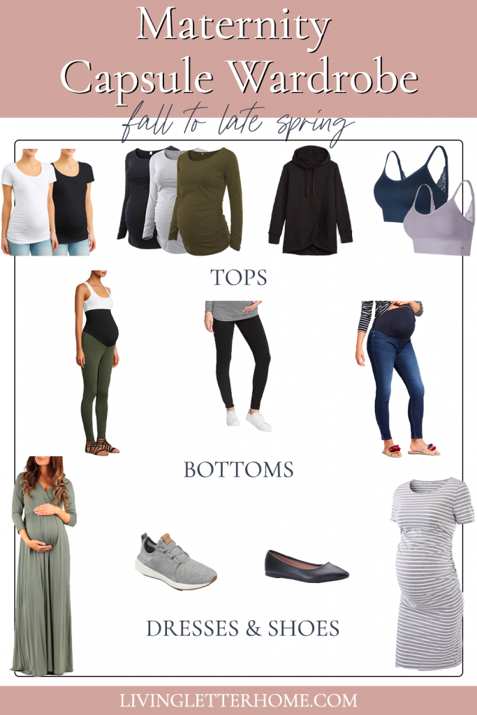 Budget friendly maternity capsule wardrobe graphic