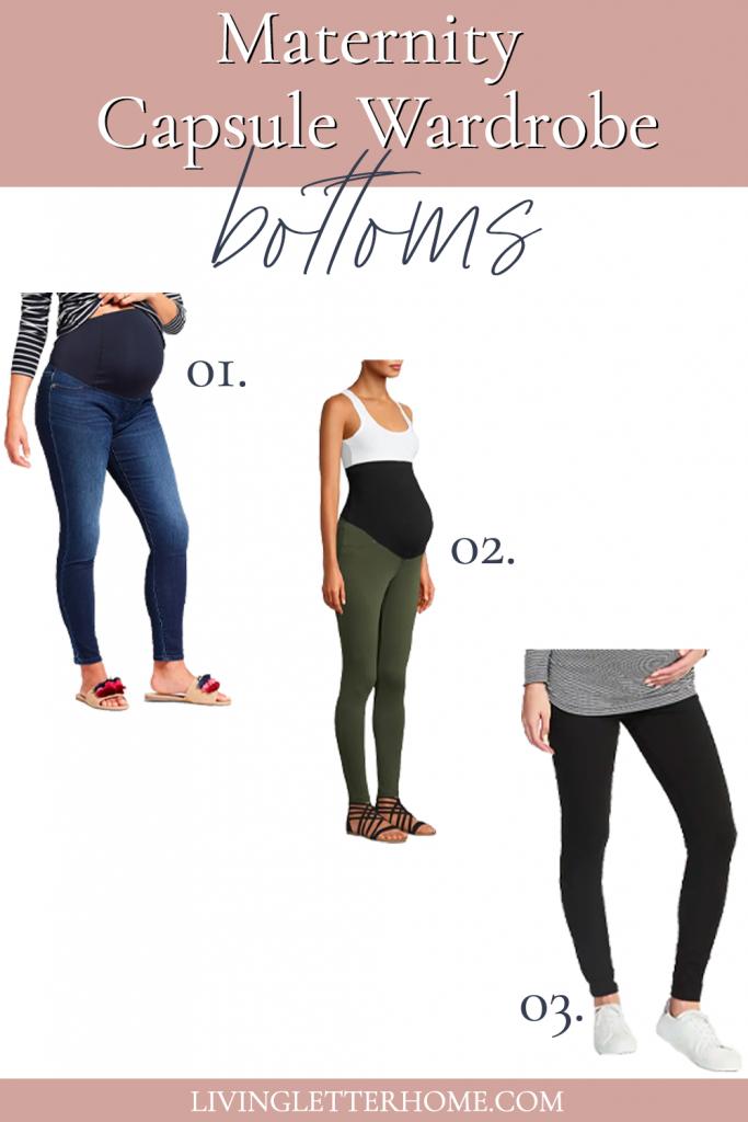 Maternity capsule wardrobe bottoms graphic