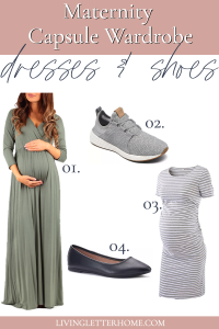 Maternity capsule wardrobe dresses and shoes graphic