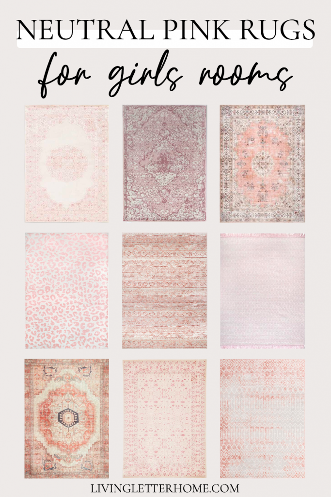Neutral pink rugs for a girl's room graphic