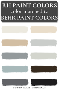 RH paint colors matched to Behr paint graphic