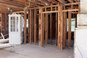interior home framing with white china cabinet